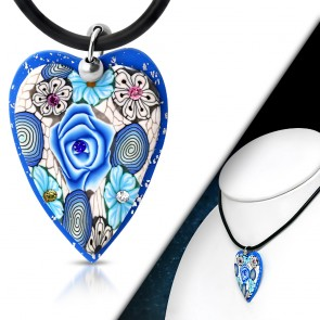 Fashion Fimo/ Polymer Clay Rose Flower Love Heart Charm Necklace w/ Clear & Colorful CZ