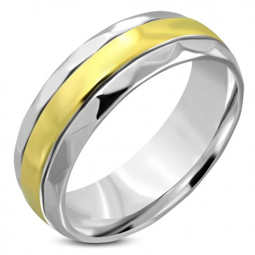8mm | Stainless Steel 2­-tone Comfort Fit Half­-Round Wedding Band Ring ­