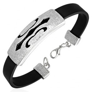Fashion Alloy Cut-out Fleur De Lis Flower Watch-Style Black Rubber Bracelet