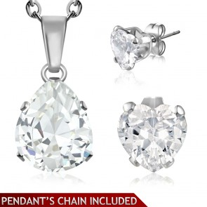 Stainless Steel Prong-Set Pear/ Teardrop Charm Chain Necklace & Pair of Love Heart Stud Earrings w/ Clear CZ (SET)