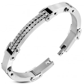 Stainless Steel Grid/ Checker Watch-Style Bracelet