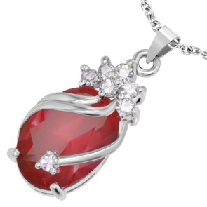 Fashion Alloy Crystal Flower Vine Oval Charm Pendant w/ Faceted Clear & Red CZ