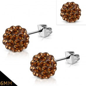 6mm | Stainless Steel Argil Disco Ball Shamballa Stud Earrings w/ Smoked Topaz CZ (pair)