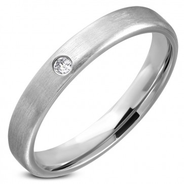 3.5mm | Stainless Steel Comfort Fit Wedding Flat Band Ring w/ Clear CZ 