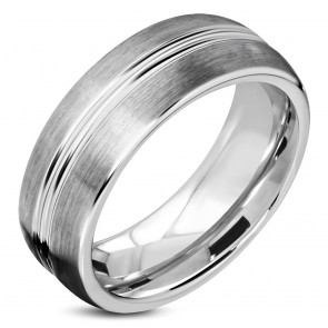 7mm | Tungsten Carbide Satin Finished Center Grooved Comfort Fit Half-Round Band Ring