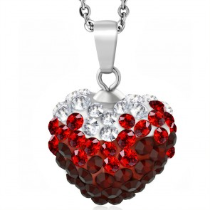 Stainless Steel Love Heart Shamballa Charm Chain Necklace w/ Clear & Light Siam Red CZ | CRZT