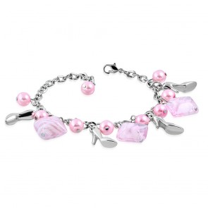 Fashion Alloy Pink Pearl Glass Bead Square Lady Shoes Charm Link Chain Bracelet
