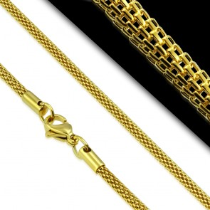 L-46cm W-2.5mm | Gold Color Plated Stainless Steel Lobster Claw Clasp Round Mesh Link Chain