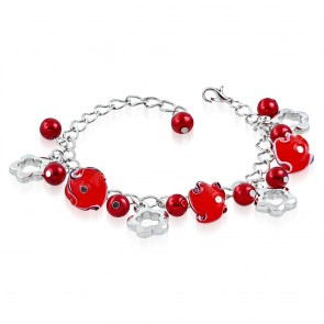 Fashion Alloy Red Pearl Glass Bead Flower Star Charm Link Chain Bracelet