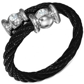 Black Stainless Steel 2-tone Celtic Twisted Cable Wire Torc Cuff Ring w/ Alloy End Cap & Clear CZ 