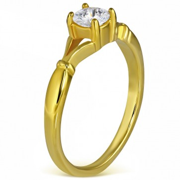 5mm | Gold Color Stainless Steel Prong-Set Solitaire Engagement Band Ring w/ Clear