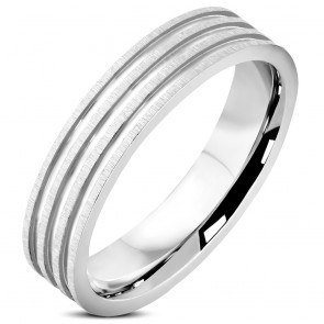 5mm | Stainless Steel Satin Finished Grooved Striped Comfort Fit Wedding Flat Band Ring