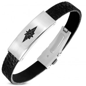 Black PVC Leather Bracelet w/ Stainless Steel Cut-out Shining Star Watch-Style