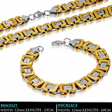 L60cm W12mm | Stainless Steel 2-tone Lobster Claw Clasp Byzantine Link Chain & Bracelet (SET)