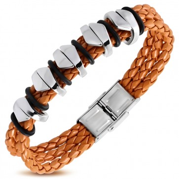 Orange Braided PU Leather w/ Stainless Steel Tube O-Ring Watch Style