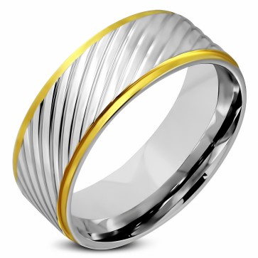 8mm   Stainless Steel 2-tone Diagonal Grooved Step Edge Comfort Fit Flat Band Ring
