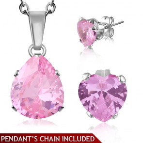 Stainless Steel Prong-Set Pear/ Teardrop Charm Chain Necklace & Pair of Love Heart Stud Earrings w/ Rose Pink CZ (SET)