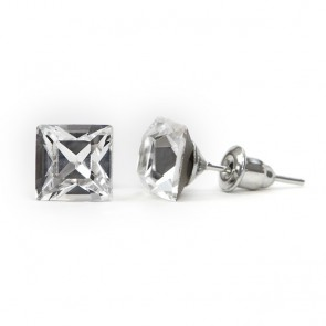 Square Stainless Steel Stud Earrings w/ Crystal Swarovski® Elements Crystals