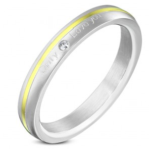 3mm | Stainless Steel 2­-tone Only Love You Half­-Round Wedding Band Ring w/ Clear CZ ­
