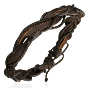 Fashion Multi Wrap Rope Braided Adjustable Brown Leather Bracelet