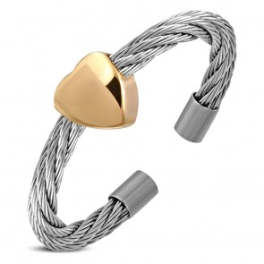 Stainless Steel 2-tone Love Heart Celtic Twisted Cable Wire Free Size Ring 