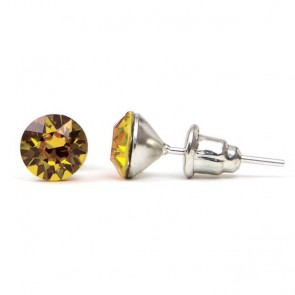 Round Stainless Steel Stud Earrings w/ Golden Shadow Swarovski® Elements Crystals