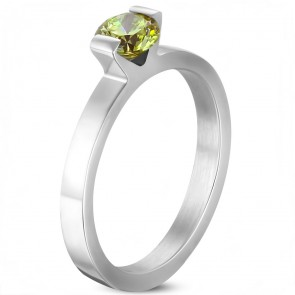 6mm | Stainless Steel Compression Set Round Solitaire Engagement Band Ring w/ August Birthstone Peridot CZ 