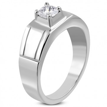 Stainless Steel Prong-­Set Round Geometric Ring w/ Clear CZ ­