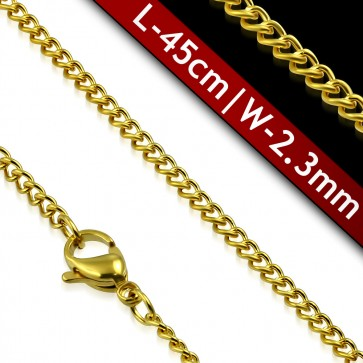 L-45cm W-2.3mm | Gold Color Plated Stainless Steel Lobster Claw Clasp Curb Cuban Link Chain