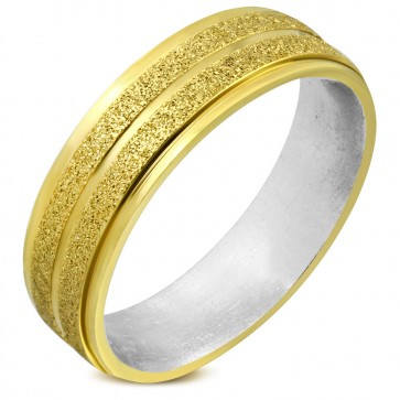 6mm | Stainless Steel Sandblasted 2-tone Grooved Striped Comfort Fit Flat Band Ring