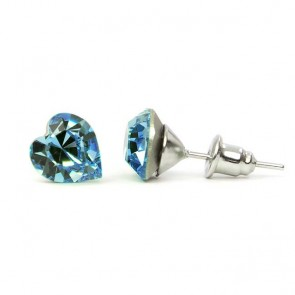 Hearth Stainless Steel Stud Earrings w/ Jazzy Light Blue Swarovski® Elements Crystals