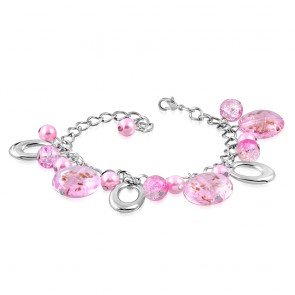 Fashion Alloy Pink Pearl Glass Bead Oval Charm Link Chain Bracelet