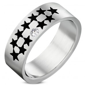 8mm | Stainless Steel Matte Finished 2-tone Pentagram Star Wedding Flat Band Ring w/ Clear CZ